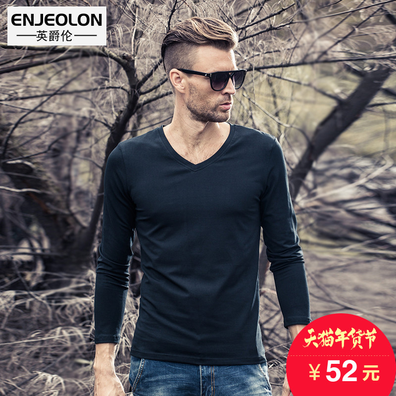 British Viscount men's long sleeve t-shirt spring loaded fashion brand men's solid slim v neck top