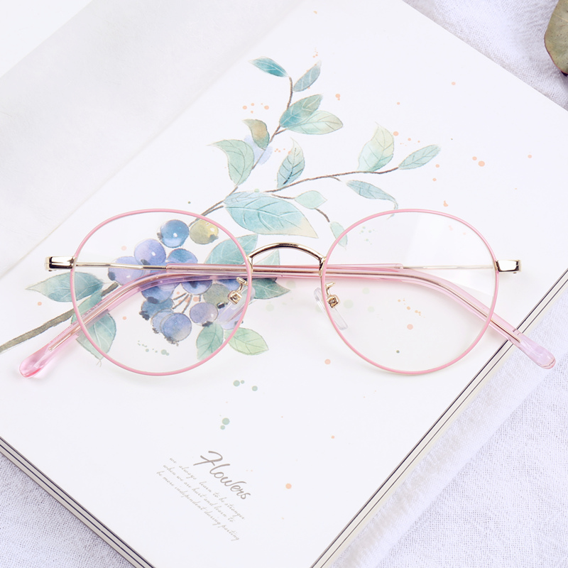 粉色数学眼镜框女韩版潮有度圆形透明平金属复古光镜生文艺近视镜