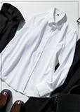 Весенний минимализм белый приталенный длинный рукав сорочка мужской японский высокая Шаг шелковый легкий свободный горячий воротник коммутируют рубашка