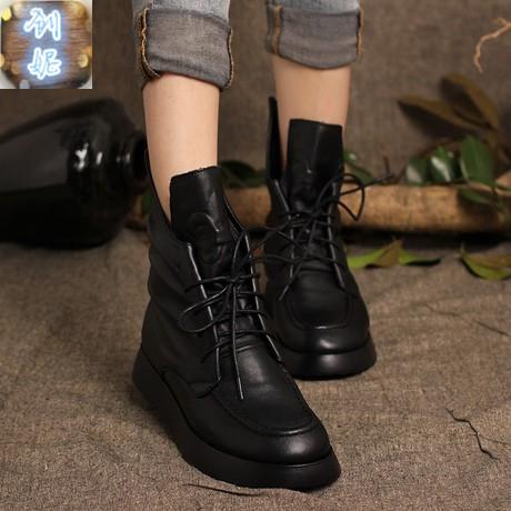 原创牛皮短靴系带马丁靴头层真皮秋冬棉靴内增高女靴单靴吐火罗款