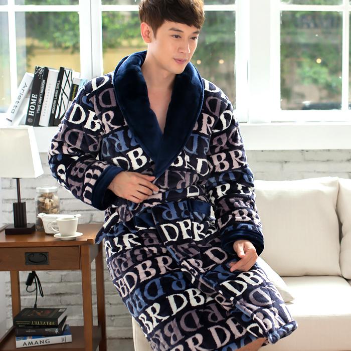 秋冬季珊瑚绒男士睡袍浴袍三层加厚法兰绒纯色字母夹棉睡袍睡衣男