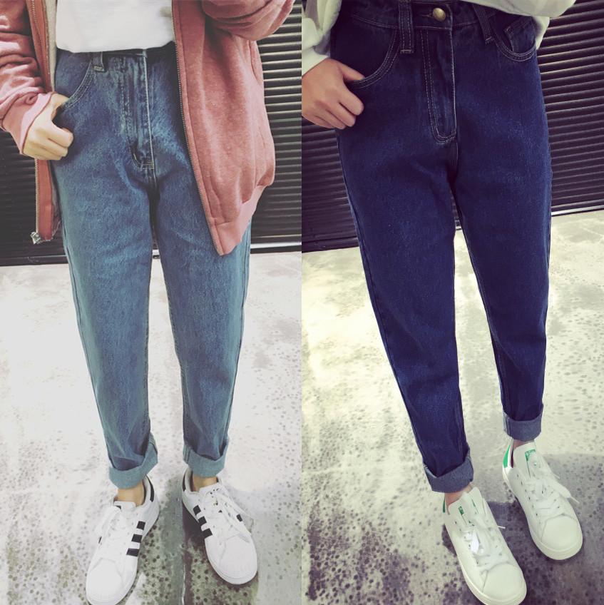 韩国超显瘦黑色高腰牛仔裤女生九分小脚裤冬季加绒加厚铅笔长裤子