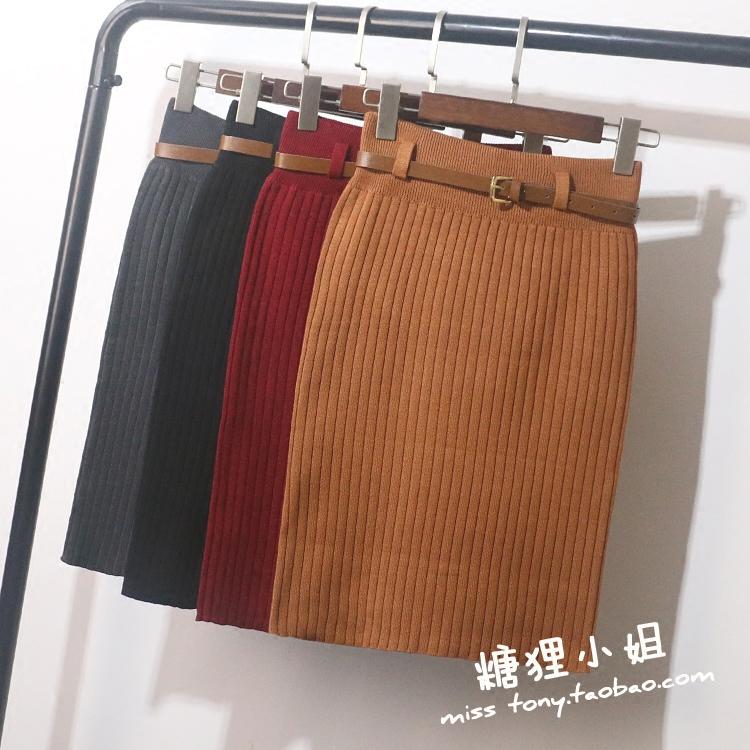 日本东京海外代购包邮女装15冬新纯羊毛针织一步包臀裙半截裙