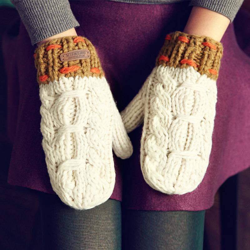 精品韩版手套男冬季骑车女士加厚猪皮 真皮毛线针织加绒保暖防滑