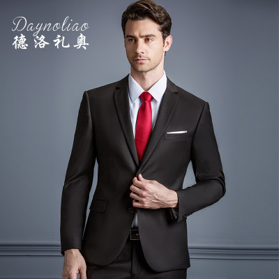 Suit suit male two-piece plus fertilizer large size dress groom wedding dress business men casual suit spring and autumn