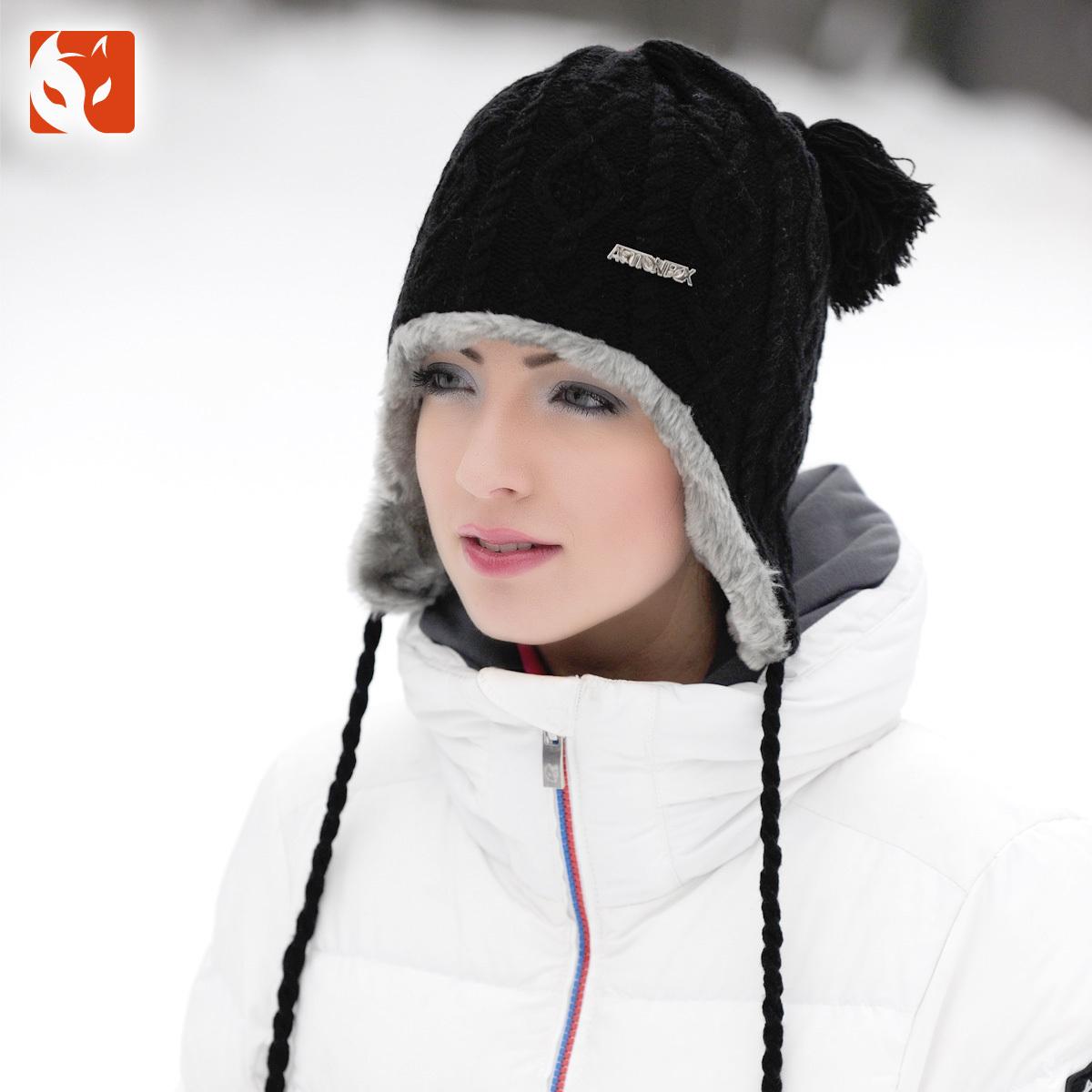 快乐狐狸女冬季毛线帽加绒加厚护耳帽保暖针织帽0630 黑色 均码