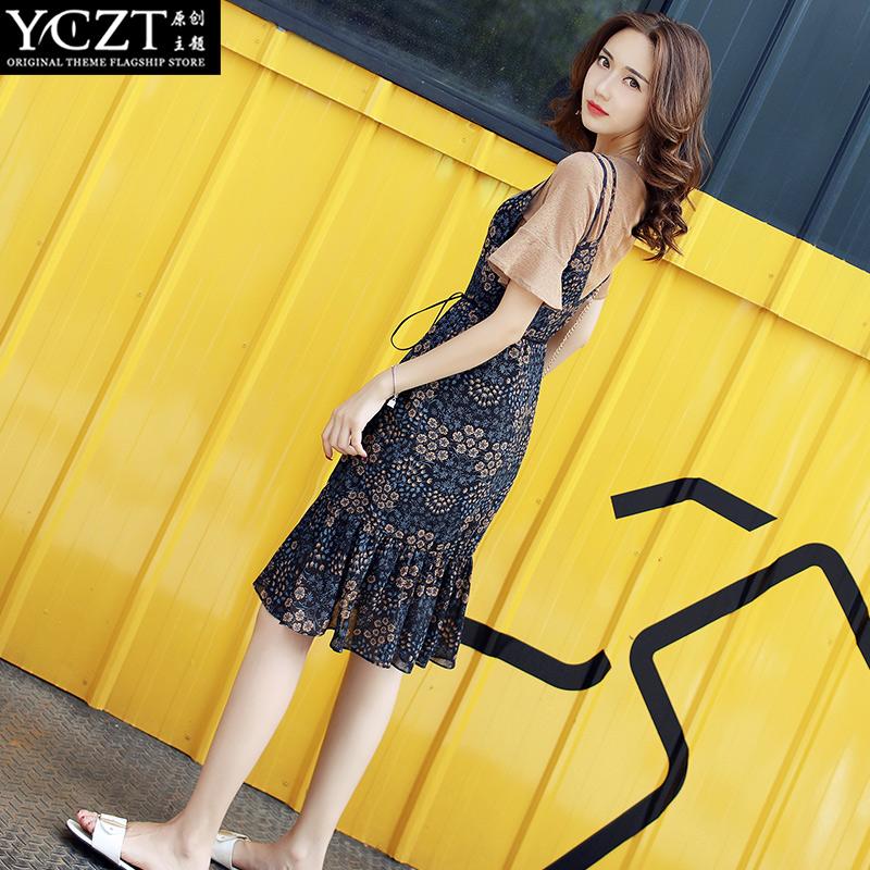 连衣裙女夏2017新款韩版显瘦短袖T恤套装裙两件套+碎花吊带裙子潮