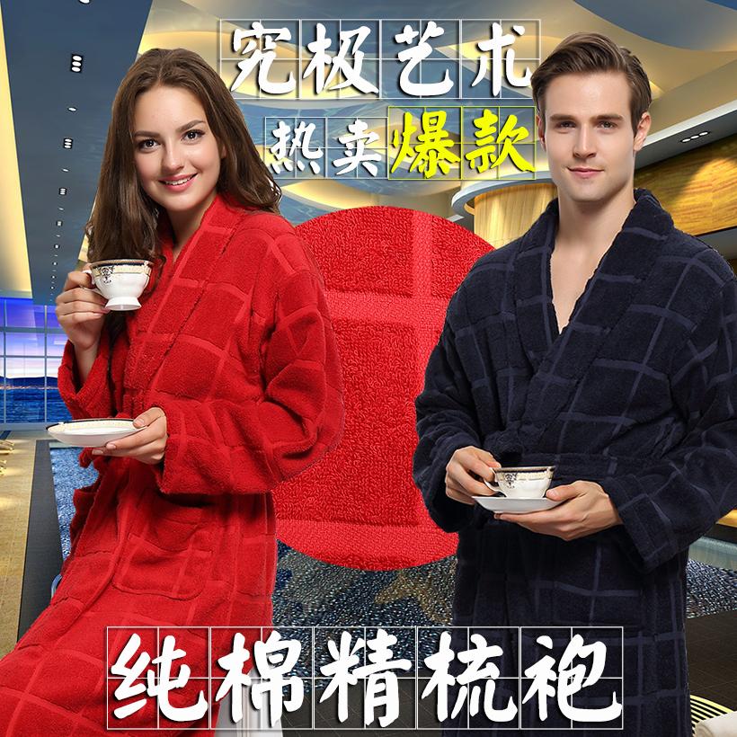 夹棉睡袍秋冬季男士珊瑚绒加厚加肥加大码家居服三层冬季浴袍
