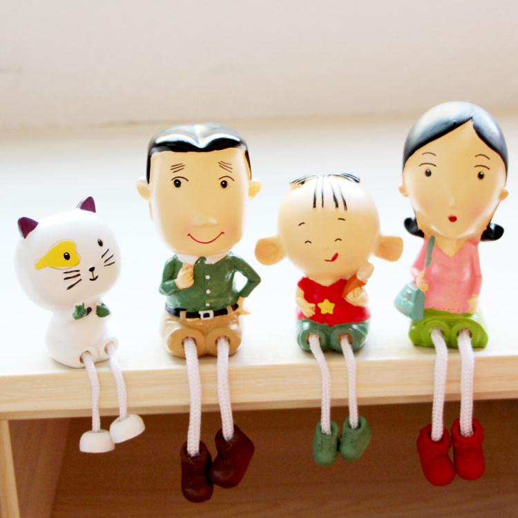 大头儿子三口一家吊脚娃娃家居装饰品小摆件 客厅电视柜搁板摆设