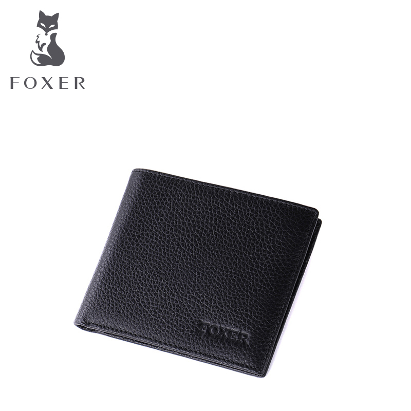 Kim Fox 2016 men's wallet men's short paragraph leather cowhide genuine men's 2-fold Multi-Card bit cross classic BI-fold wallet