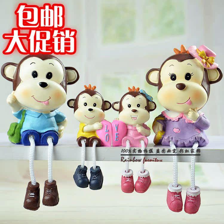 三不猴子摆件兔 可爱儿童小动物树脂办公室家居装饰多肉创意礼物