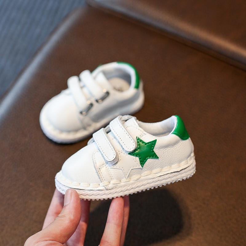 春秋季真皮宝宝鞋软底防滑婴儿学步鞋0-1一岁2-3幼儿小白鞋男女童