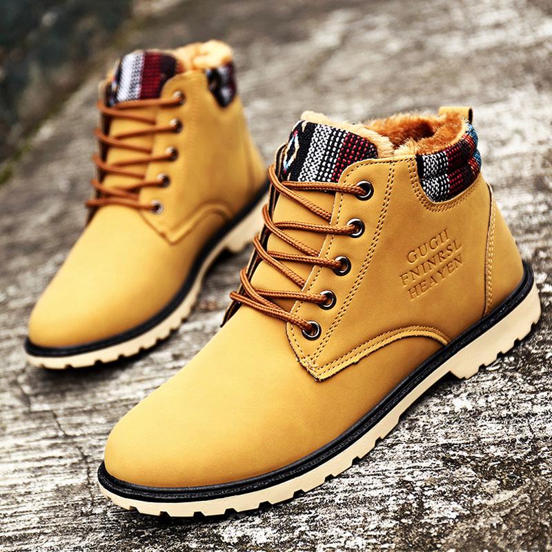 冬季加绒英伦马丁靴男士韩版潮中筒机车靴高帮军靴骑士皮靴子棉鞋