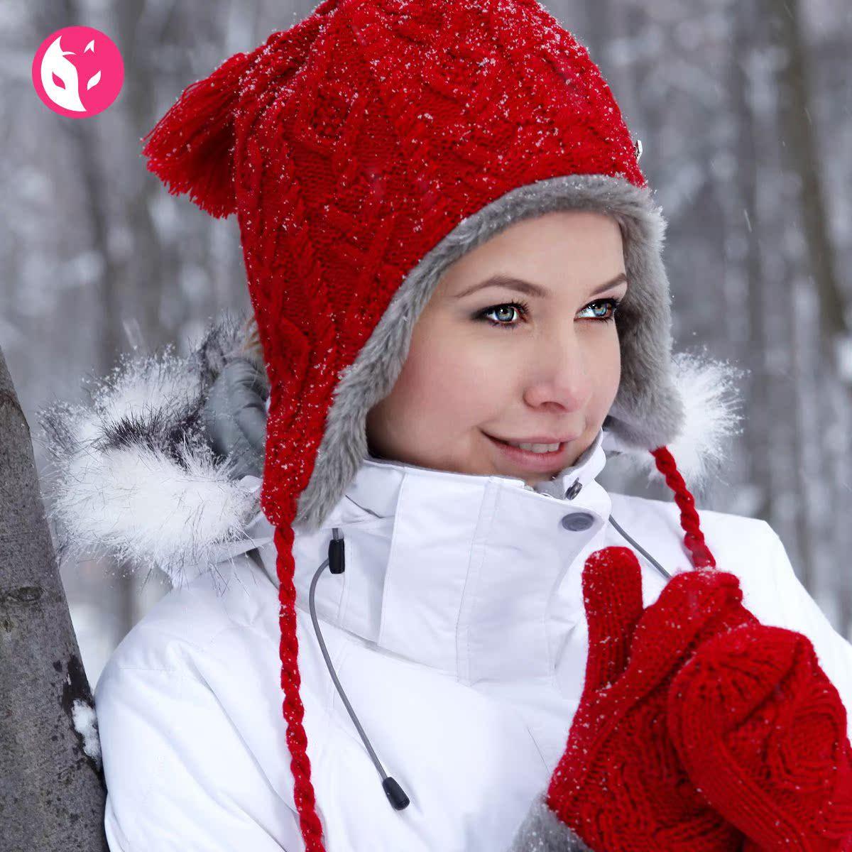 正品快乐狐狸冬天女士帽子 保暖加厚加绒 针织护耳帽子 afc-0630
