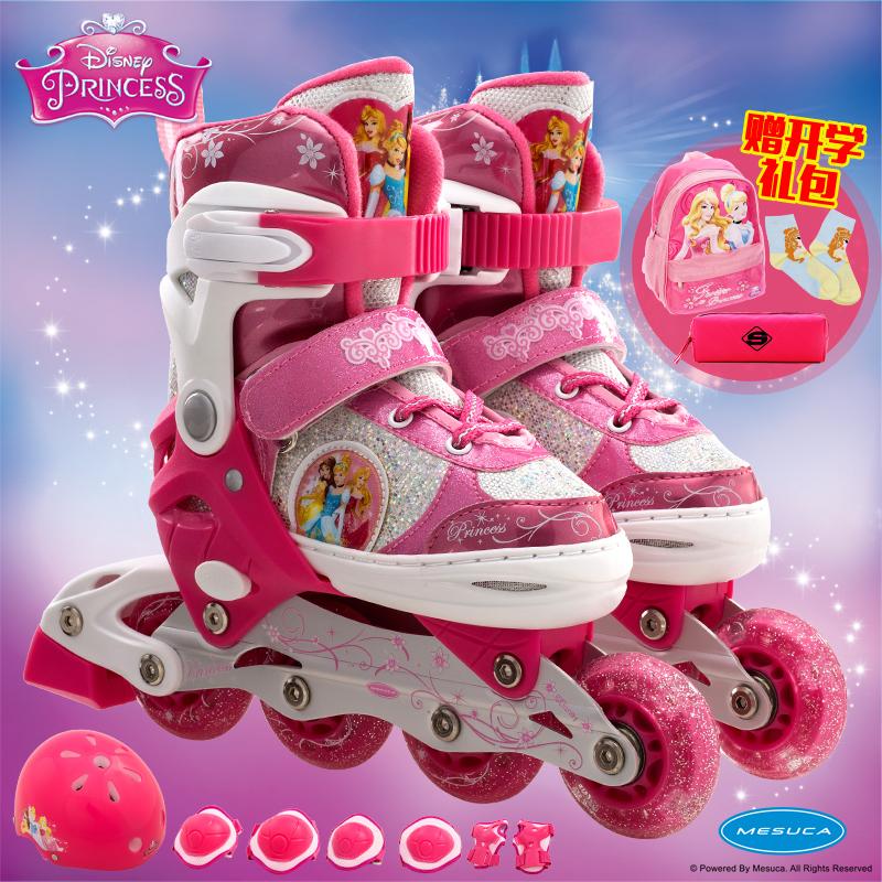 正品Disney迪士尼溜冰鞋儿童全套装轮滑鞋男女可调闪光旱冰滑冰鞋