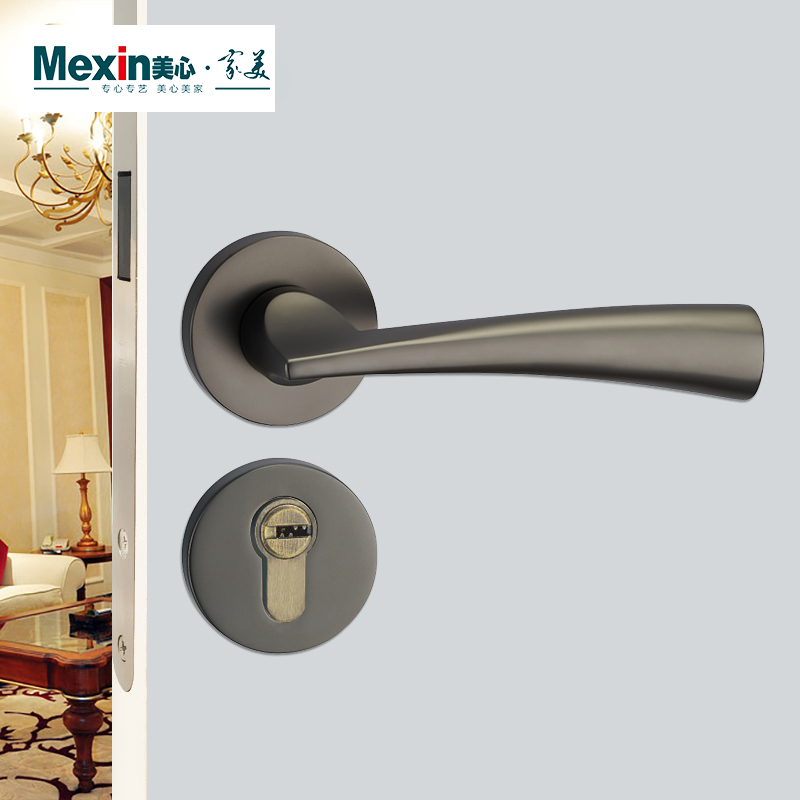 Elegant Mexin Beauty Heart Wooden Door Solid Wood Door Interior Suit Door Mute Lock  Hardware Lock Black
