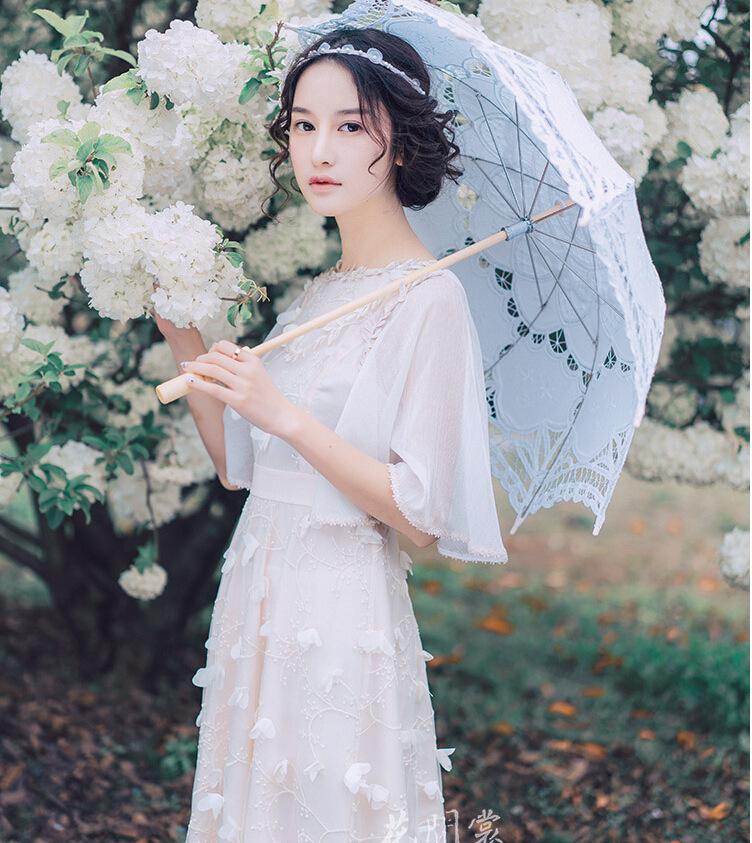 花间裳 匆匆那年 原创荷叶袖绣花女神范修身雪纺连衣裙气质长裙仙