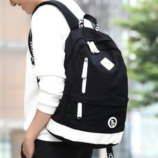 Korean men's backpack fashion trend casual canvas backpack high school college student bag computer bag travel bag