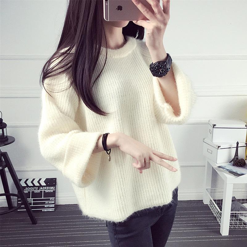 欧芮儿2016秋装新款撞色百搭七分袖宽松薄款针织衫毛衣女套头短款