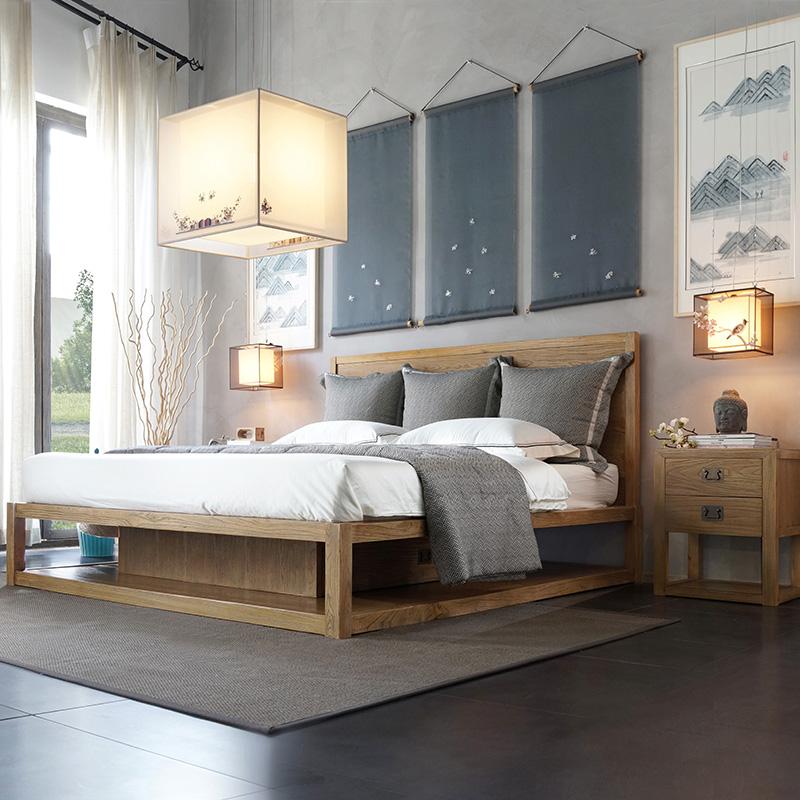 [擺設出品]雙人床皓月棲榆實木雙人床主臥現代北歐創意實木床家具
