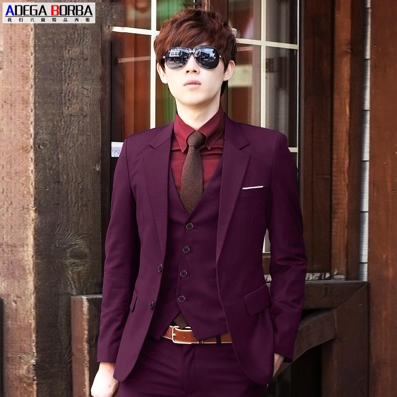 西服套装男士三件套男韩版商务修身小西装新郎结婚礼服职业正装男