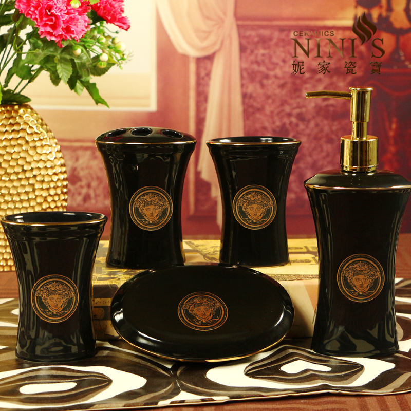 Usd 52 61 High End Versace Bathroom Five Piece Set Toilet Supplies Creative Bathroom Dental Cleaning Kit Relocation Gifts Wholesale From China Online Shopping Buy Asian Products Online From The Best Shoping Agent