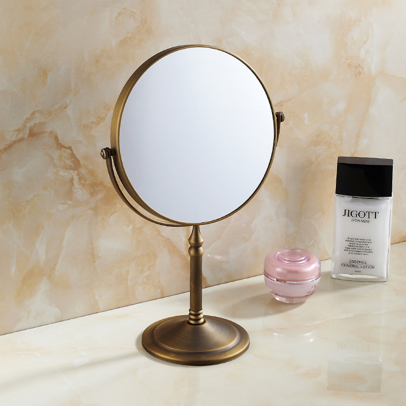 European Style Copper Antique Beauty Mirror Bathroom Cosmetic Magnifying  Glass Desktop Creative Practical Bathroom Mirror Bathroom Accessories
