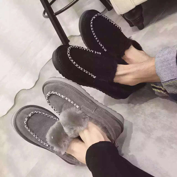 新款雪地靴冬季男士棉鞋加绒保暖男靴韩版靴子真皮情侣鞋潮流女鞋