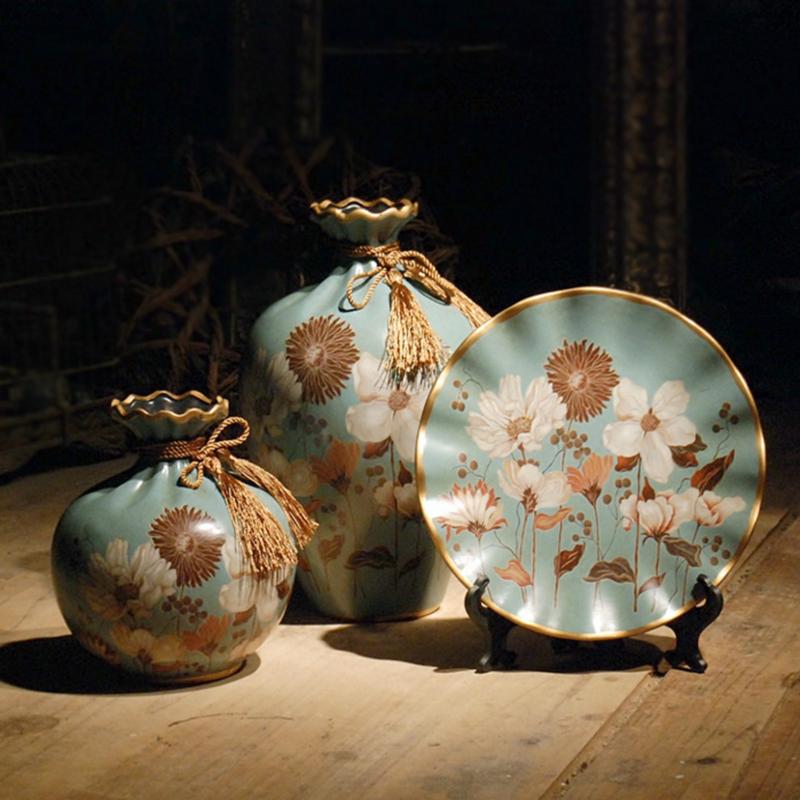 美式复古陶瓷摆件花瓶盘子欧式客厅玄关酒柜现代创意家居装饰品