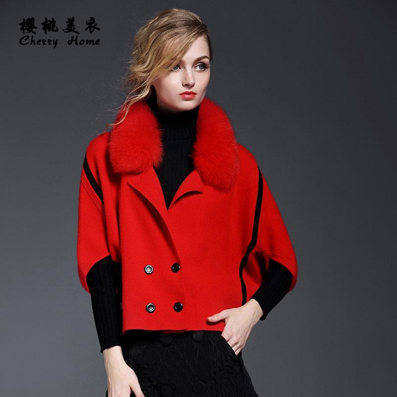 呢大衣女式秋冬配真貂子毛领韩版高领A字版型羊毛妮外套小码女装S