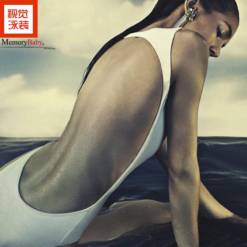 MEMORYBABY европа и америка сексуальный большой без спинки купальный костюм накройте живот страхование охрана тонкий ларец собирать сиамский купальный костюм женщина