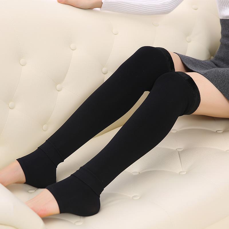 秋冬羊绒护腿袜套长筒靴袜加长护膝保暖过膝女韩国无痕打底堆堆袜