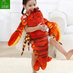 仿真大龙虾毛绒公仔皮皮虾玩具螃蟹抱枕靠垫章鱼玩偶布娃娃儿童
