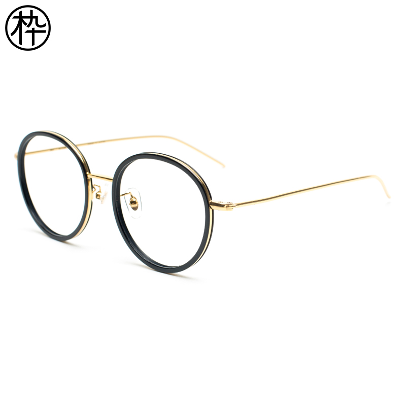 6d081c4834 Wooden ninety round rim glasses frame FM1740067 men and women can be  equipped with myopia glasses retro art glasses