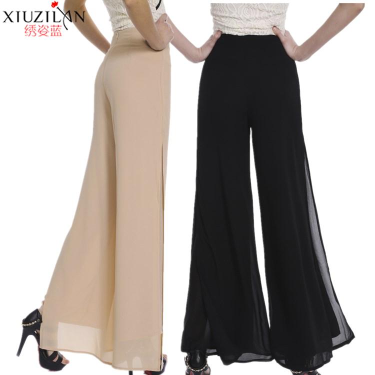Шифон юбка-брюки талия брюки большой двор платье марля свободный качели брюки прямо брюки трещина широкий брюки женщина