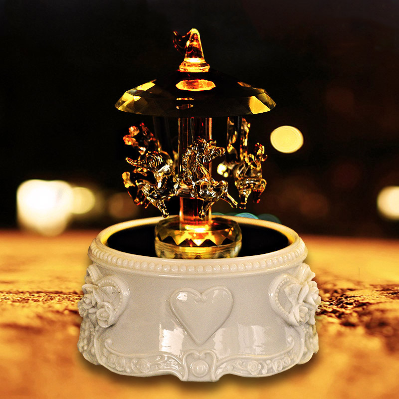 Crystal Carousel Luminous Music Box Girl Birthday Gift Girlfriend Creative Children