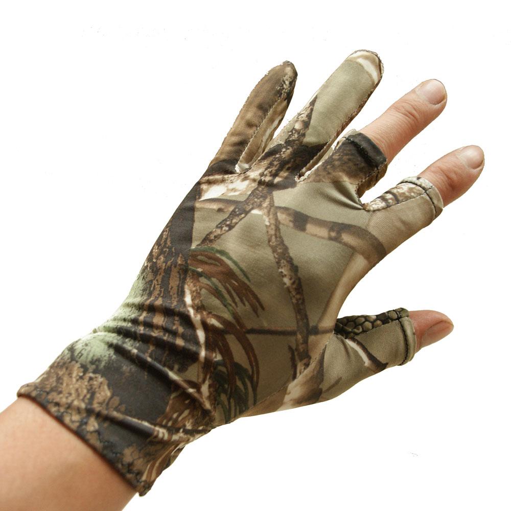 夏季款手套透气钓鱼户外冰丝枯仿生弹性迷彩树叶露半指防晒超薄男