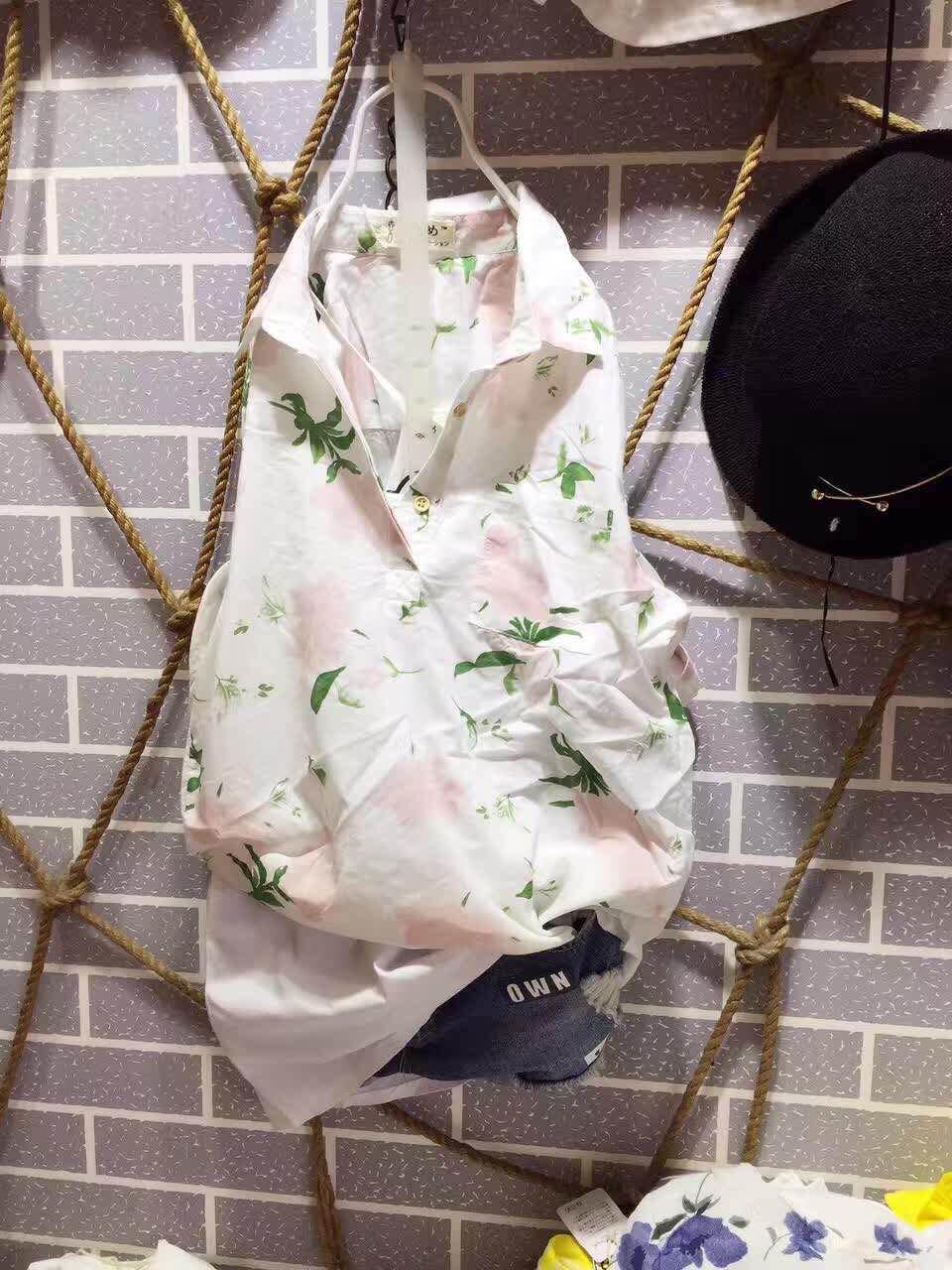 夏装新款 棉布衬衣韩版衬衫 花上衣 休闲宽松 樱姬女装短袖