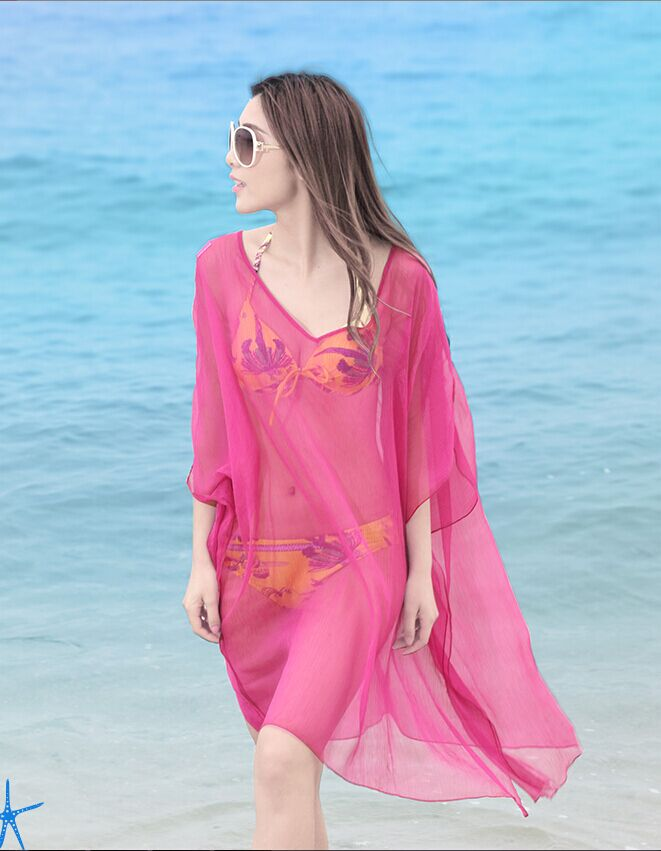 YX比基尼防晒罩衫外套露背披纱沙滩裙海边度假必备温泉泳衣长裙仙