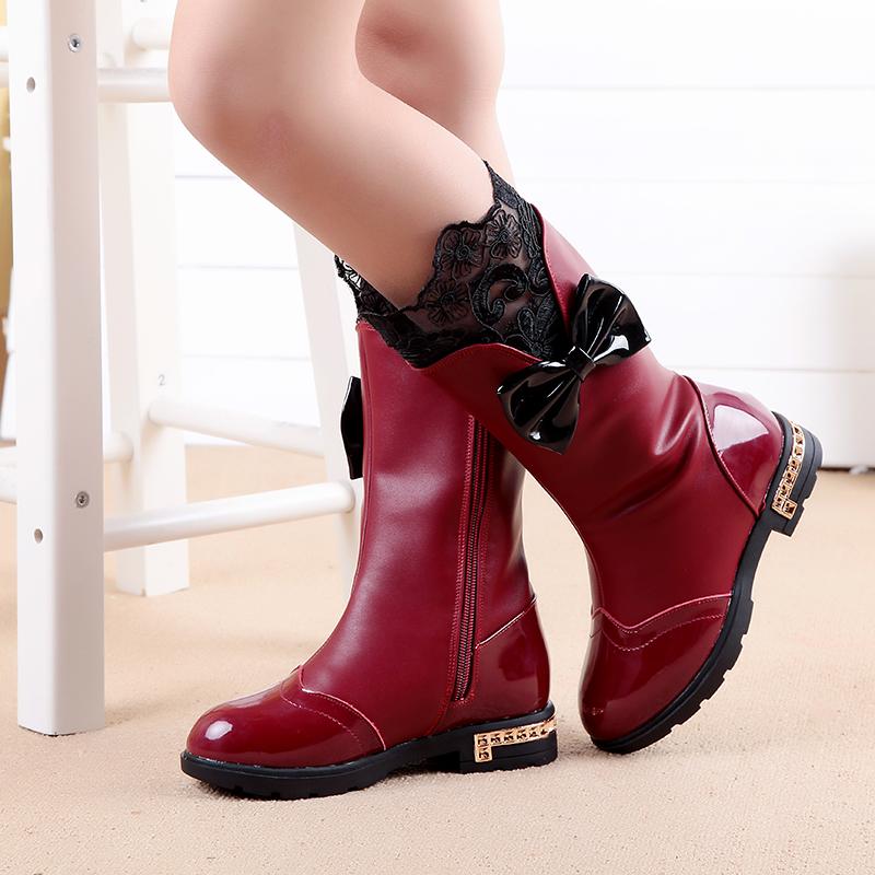 2015童鞋冬季韩版女童靴儿童公主长筒靴小女孩蝴蝶结高筒靴雪地靴