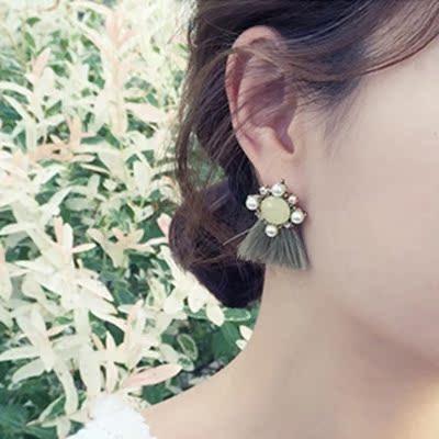 新款925纯银耳钉镶钻水晶耳环 韩国星星短款流苏耳饰防过敏简约