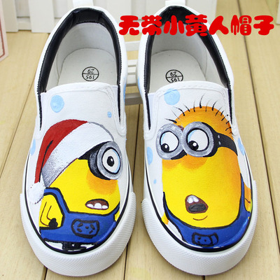 New cartoon yellow men and women boys and girls sports canvas shoes low-cut sets of feet children's parent-child shoes autumn tide