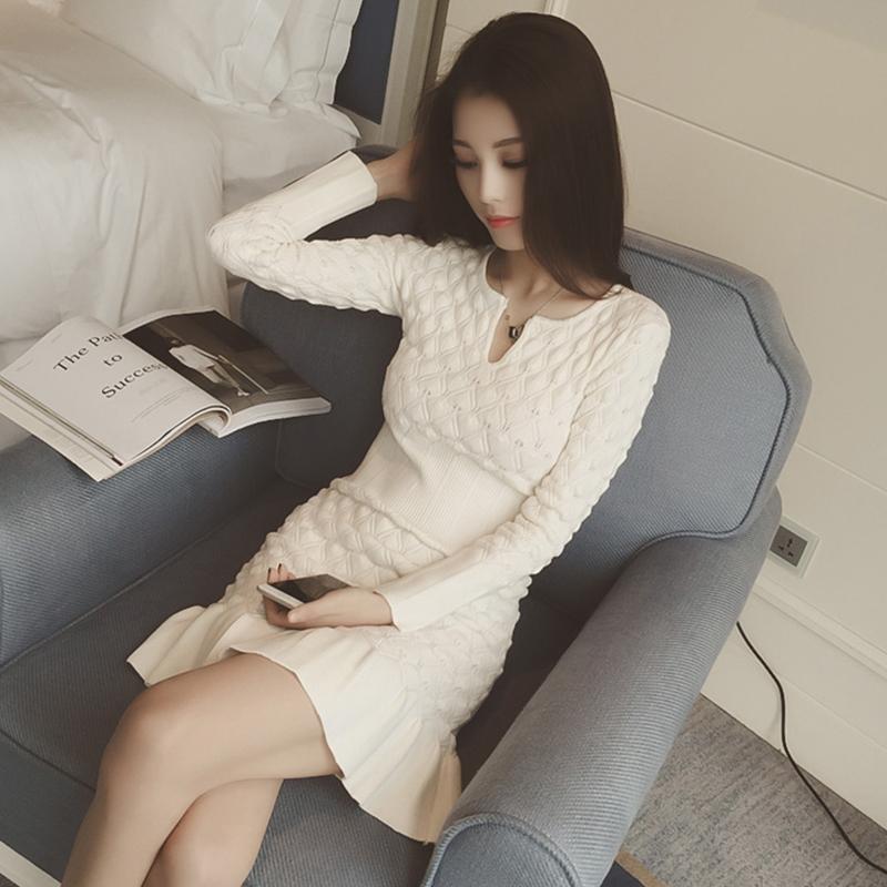 韩国代购秋冬季女装大码羊毛针织连衣裙 宽松条纹中长款打底裙潮