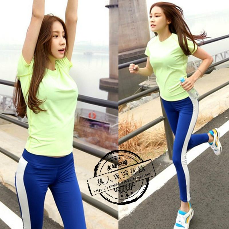 韩国显瘦晨跑瑜伽服女运动套装健身房专业跑步紧身训练服文胸春夏