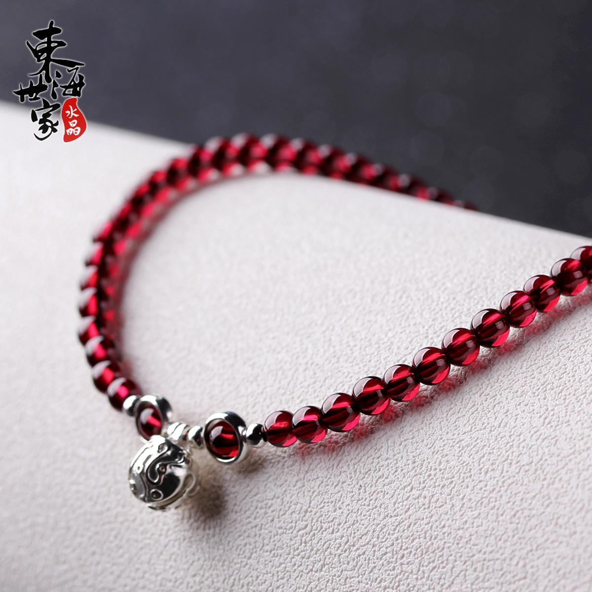 Donghai gia đình garnet vòng chân nữ 925 bạc chuông pha lê vòng chân trang sức quà tặng để gửi bạn gái