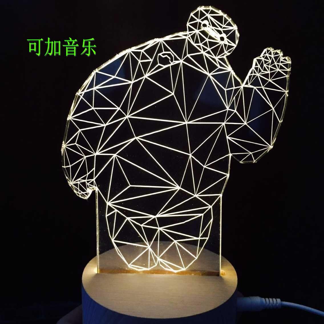 3D大白小夜灯遥控灯LED小台灯可调光创意生日礼物USB卧室个性装饰