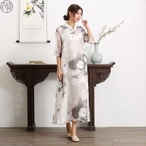 衣徒旗袍长款连衣裙立领改良唐装复古中国风夏秋优雅日常旗袍裙