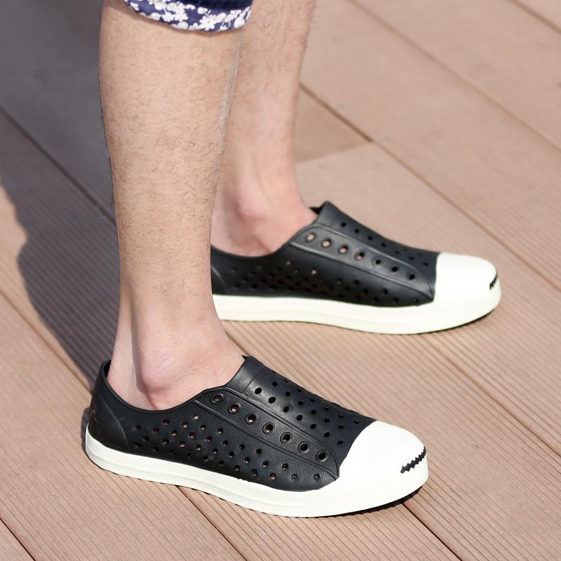 软底小码洞洞鞋37男士凉鞋46沙滩鞋男36情侣潮凉拖鞋女大码男鞋45