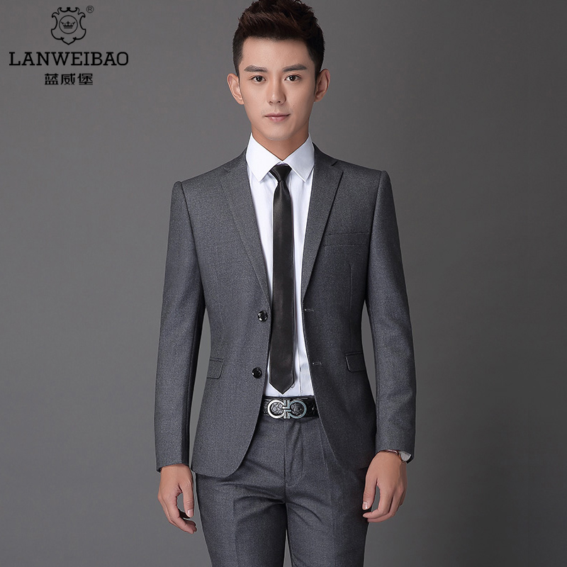 USD 311.54] Blue Williamsburg grey suit men\'s suits two or three ...