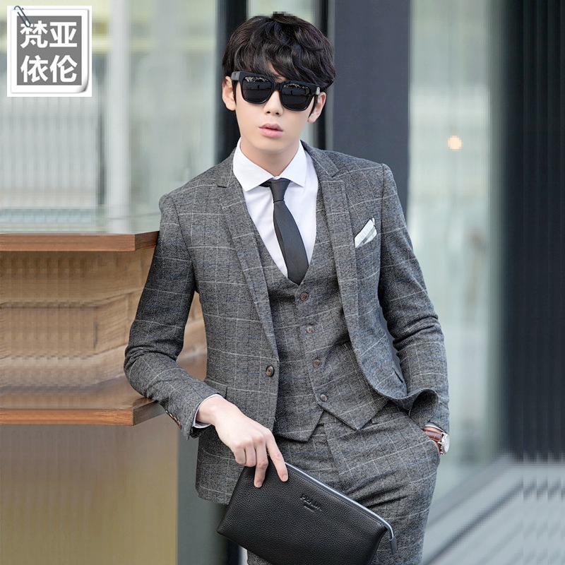 春季男士西装三件套潮男格子西服套装韩版修身小西装新郎结婚礼服